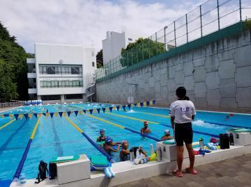 川西市立東谷中学校の水泳部と合同練習